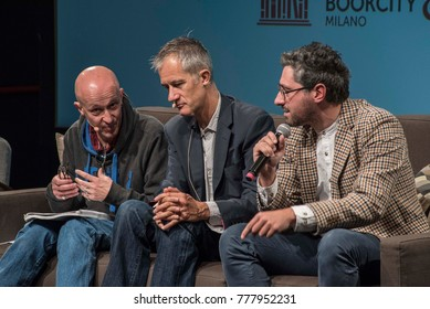 Milan, Italy november 19 2017: Geoff Dyer, british writer, is interviewed about his books on art and life by Andrea Gentile, editorial director, during Bookcity, cultural event on literature.