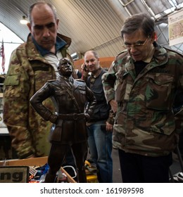 MILAN, ITALY - NOVEMBER 2: Mussolini statute on display at Militalia, exhibition dedicated to militaria collectors and military associations on NOVEMBER 2, 2013 in Milan.