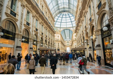 Milan, Italy - November 20 2014: Galleria Vittorio Emanuele II built between 1865 & 1867 is the prototype for the modern enclosed shopping mall. It is a landmark, and popular place to shop & dine