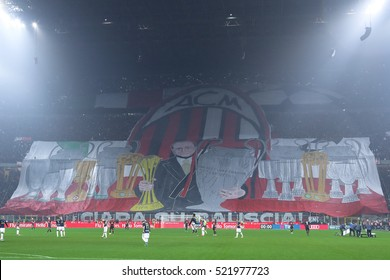 Milan, Italy, november 2016: ac Milan supporters during the football match beetwen AC MILAN vs FC INTER Italy league Serie A, San Siro stadium Milan november 20 2016