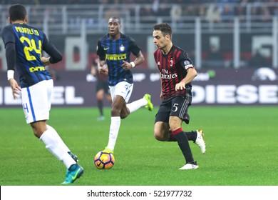 Milan, Italy, november 2016: Bonaventura Jack in action during the football match beetwen AC MILAN vs FC INTER Italy league Serie A, San Siro stadium Milan november 20 2016