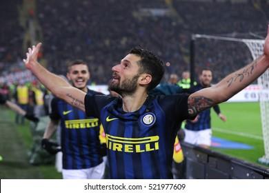 Milan, Italy, november 2016: Candreva Antonio celebrates goal during the football match beetwen AC MILAN vs FC INTER Italy league Serie A, San Siro stadium Milan november 20 2016