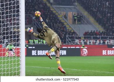 Milan, Italy, november 2016: Donnarumma Gianluigi takes goalby Candreva Antonio during the football match beetwen AC MILAN vs FC INTER Italy league Serie A, San Siro stadium Milan november 20 2016