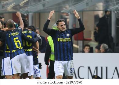 Milan, Italy, november 2016: fc Inter players celebrate goal during the football match beetwen AC MILAN vs FC INTER Italy league Serie A, San Siro stadium Milan november 20 2016