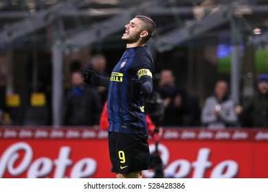 Milan, Italy, november 2016: Icardi Mauro celebrates goal during the football match between FC INTER vs FIORENTINA, Italy League Serie A, San Siro stadium Milan november 28 2016
