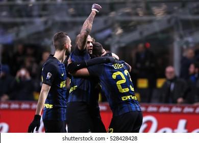 Milan, Italy, november 2016: Icardi Mauro celebrates goal during the football match between FC INTER vs FIORENTINA, Italy League Serie A, San Siro stadium Milan november 28 2016