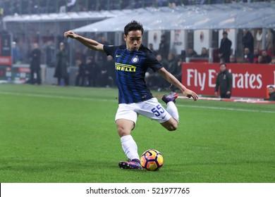 Milan, Italy, november 2016: Nagatomo Yuto during the football match beetwen AC MILAN vs FC INTER Italy league Serie A, San Siro stadium Milan november 20 2016