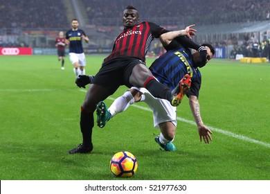 Milan, Italy, november 2016: Niang M'Baye and Medel Gary in action during the football match beetwen AC MILAN vs FC INTER Italy league Serie A, San Siro stadium Milan november 20 2016