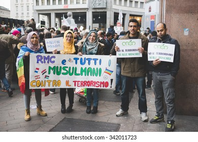 MILAN, ITALY - NOVEMBER 21: muslims manifestation against terrorism in Milan on November, 21 2015. Muslims Protest against terrorist attacks happened in Paris on November 13, 2015.