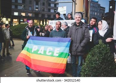 MILAN, ITALY - NOVEMBER 21: muslims manifestation against terrorism in Milan on November, 21 2015. Muslims Protest against terrorist attacks happened in Paris on November 13, 2015.