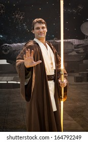 MILAN, ITALY - NOVEMBER 22: Jedi cosplay at G! come giocare, trade fair dedicated to games, toys and children on NOVEMBER 22, 2013 in Milan.