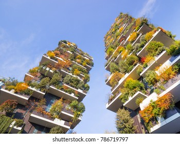"""MILAN, ITALY, NOVEMBER 23, 2017  """"Bosco Verticale""""  New and modern condo with trees growing on balconies, Bosco Verticale residential towers in milan italy (Vertical forest)."""