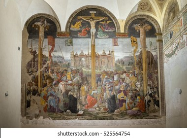 MILAN, ITALY - NOVEMBER 24, 2016: Crucifixion, opposite Leonardo's Last Supper in the refectory of the Convent of Santa Maria delle Grazie.