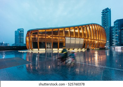 MILAN, ITALY - NOVEMBER 24, 2016: Unicredit pavilion on the new Gae Aulenti's square at dusk.