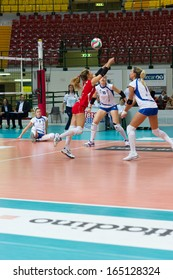 MILAN, ITALY  NOVEMBER, 24: S. Lussana (8  red SDB Scandicci )in Saugella Team Monza  SDB Scandicci   ( Italian Volley League A2) on November 24 , 2013 in Milan , Italy