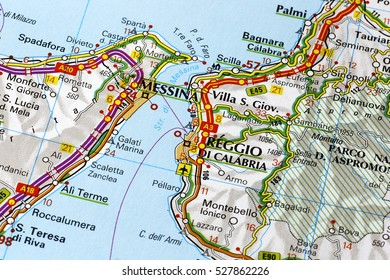 Milan, Italy - November 26, 2016: Strait of Messina on a map