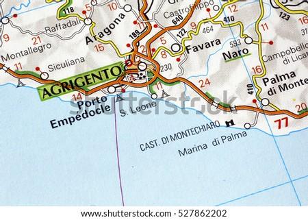 Agrigento Italy Map.Milan Italy November 26 2016 Agrigento Stock Photo Edit Now