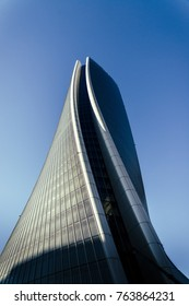 Milan, Italy - November 27th, 2017: Hadid Tower by Zaha Hadid Architects, in Milan, Italy's modern CityLife District - Metro stop Tre Torri
