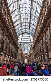 Milan, Italy - November 3, 2012:The crowd inside of the Galleria Vittorio Emanuele II, the oldest active shopping mall of Milan.