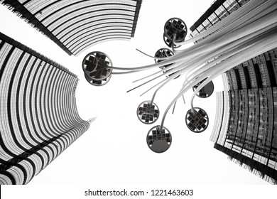 MILAN, ITALY - November 3, 2018: Bottom view of Skyscraper and commercial buildings in the new Gae Aulenti's square in Milan. Unique view
