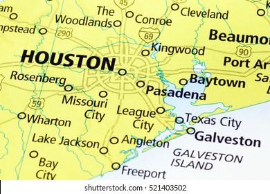 Milan, Italy - November 30, 2015: Houston area on a map