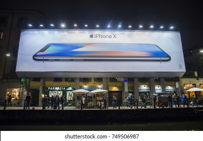 Milan, Italy - November 3rd, 2017: Giant billboard for Apple's iphone X which was released in Italy in November 2017