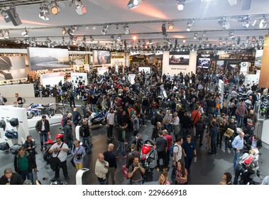 MILAN, ITALY - NOVEMBER 5, 2014. The bmw stand from aerial view at Eicma 2014. .Eicma is  a world famous motorbikes show that takes place every year in Milan.