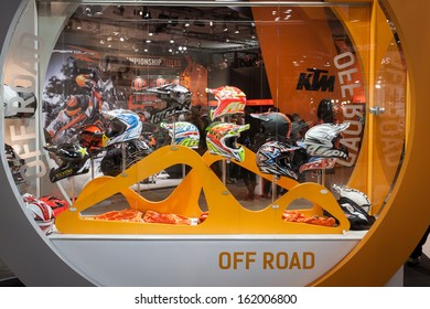 MILAN, ITALY - NOVEMBER 5: Motorcycle helmets on display at EICMA, international motorcycle exhibition on NOVEMBER 5, 2013 in Milan.