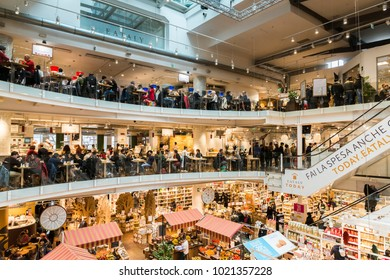 Milan, Italy - November 5th, 2017: Eataly is a chain supermarket selling all products related to Italian gastronomy. This supermarket is located in Porta Garibaldi, Milan