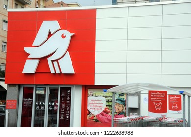 Milan , Italy november 6, 2018 - Auchan Grocery ( Supermarket )