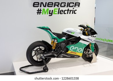 MILAN, ITALY - NOVEMBER 6: Electric motorbike on display at EICMA, international motorcycle exhibition on NOVEMBER 6, 2018 in Milan.