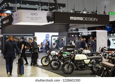 MILAN, ITALY - NOVEMBER 6: People visit EICMA, international motorcycle exhibition on NOVEMBER 6, 2018 in Milan.