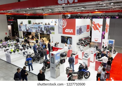 MILAN, ITALY - NOVEMBER 6: Top view of people and stands at EICMA, international motorcycle exhibition on NOVEMBER 6, 2018 in Milan.