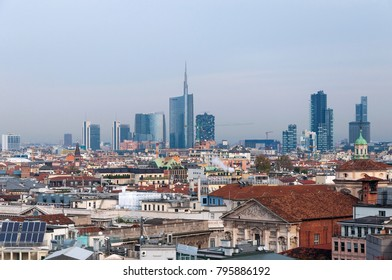 MILAN, ITALY - NOVEMBER 9, 2016: Panoramic view of Milan s business district from the observation deck Duomo di Milano
