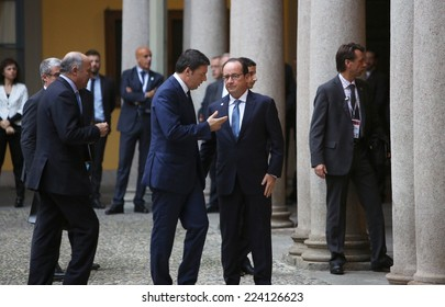 MILAN, ITALY - Oct 17, 2014: French President Francois Hollande and Prime Minister of Italy, Matteo Renzi, during a meeting on the ASEM summit of European and Asian leaders in Milan