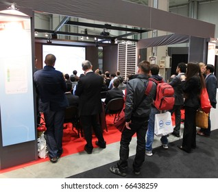 MILAN, ITALY - OCT. 20: People participates to conference at SMAU, international fair of business intelligence and information technology October 20, 2010 in Milan, Italy.