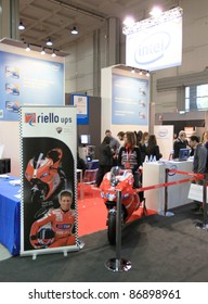 MILAN, ITALY - OCT. 20: People at stands during SMAU, international fair of business intelligence and information technology October 20, 2010 in Milan, Italy.