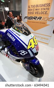 MILAN, ITALY - OCT. 20: Valentino Rossi's Yamaha in exhibition at Fastweb stand during SMAU, international fair of business intelligence and information technology October 20, 2010 in Milan, Italy.