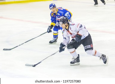 MILAN, ITALY - Oct, 6 : Terzago of HC Milano Rossoblu and Naclerio ofAsiago Hockey during a game at Agora Arena on October 6, 2018, in Milan