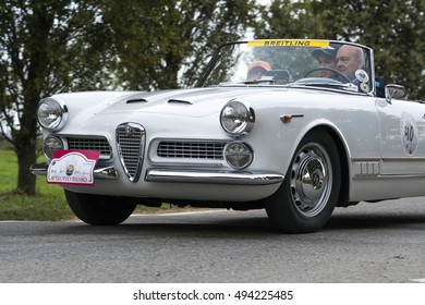 MILAN / ITALY - OCTOBER 01, 2016: Alfa Romeo Giulietta Spider, built in the sixties, during a meeting of vintage cars
