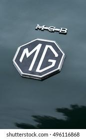 Milan, Italy - october 01, 2016: Close up detail of MG logo on a vintage car