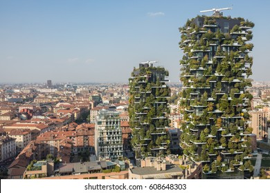 MILAN, ITALY - OCTOBER 05, 2016: Bosco Verticale the vertical forest residential buildings on 05 October 2016 in Milan, Italy
