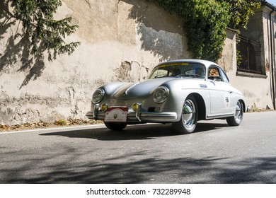 MILAN / ITALY - OCTOBER 07, 2017: Classic car, a PORSCHE 356 A, during a meeting of vintage cars.