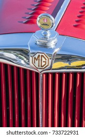 MILAN / ITALY - OCTOBER 07, 2017: MG logo sign on a classic MG car.