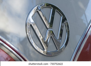 MILAN / ITALY - OCTOBER 07, 2017: Volkswagen logo sign on a vintage Vw van.