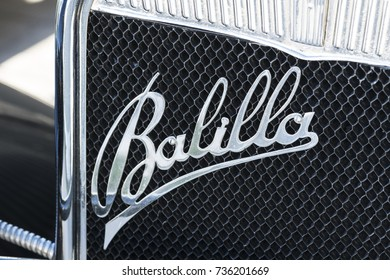 MILAN / ITALY - OCTOBER 07, 2017: Detail of vintage car: Fiat Balilla logo sign on a classic car.