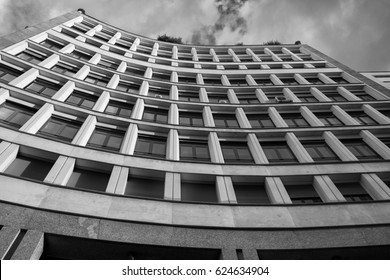 MILAN, ITALY - OCTOBER 10, 2016: Milan (Lombardy, Italy): building in San Babila square. Black and white