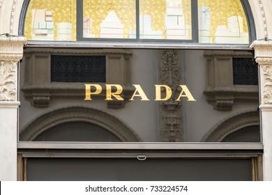 Milan, Italy - October 10, 2017: Prada logo sign on the store in Vittorio Emanuele Gallery