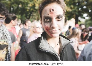 MILAN, ITALY - OCTOBER 10: People during Milan Zombie Walk, Italy on OCTOBER 10, 2015. People dressing and disguised like zombie marching during Milan Zombie Walk