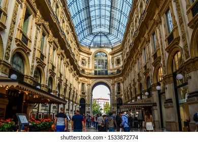 Milan / Italy - October 11 2019: The Galleria Vittorio Emanuele II is the oldest active shopping mall of Milan